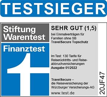 TravelSecure Topschutz Familien Finanztest Testsieger | Stiftung Warentest 2020/21 TravelSecure Topschutz Familien Finanztest Testsieger | Stiftung Warentest 2020/21
